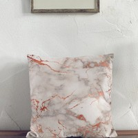 Rose Gold Marble Square Pillow