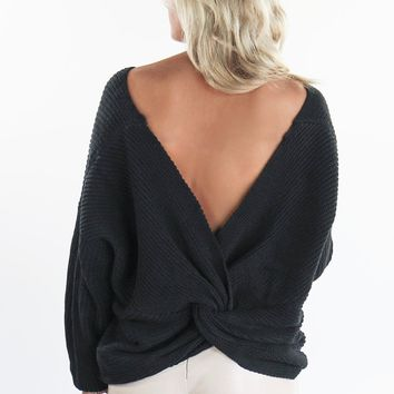 All We Have Black Twist Back Sweater