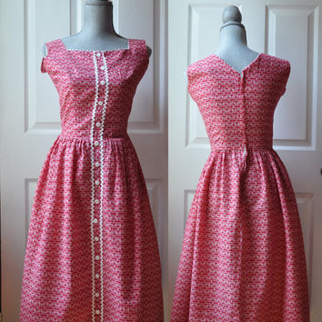 Vintage 1950s dress | red and white cotton striped and floral print dress • Ruby dress
