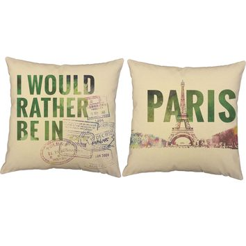 Rather Be In Paris Throw Pillows