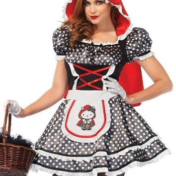 Hello Kitty Red Riding Hooddress W/ear Hood And Matching Bow In Multicolor