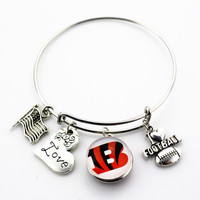 Cincinnati Bengals Adjustable Bangle Bracelet (Today 50% Off + FREE Shipping!)