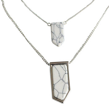 Silver Geometric Stone Pendant Multirow Chain Necklace