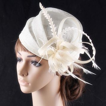 3 colors available elegant sinamay headwear with rooster feather adorned fashion wedding fascinator cocktail hats race hairstyle