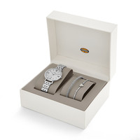Jacqueline Three-Hand Date Stainless Steel Watch and Bracelet Set
