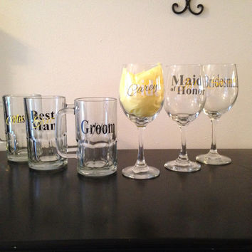 Set of 6 Bridal party wine glasses and beer mugs. Bride and groom glasses