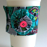 Owls Coffee Cup Cozy / Teal Owl Drink Sleeve / Polka Dots