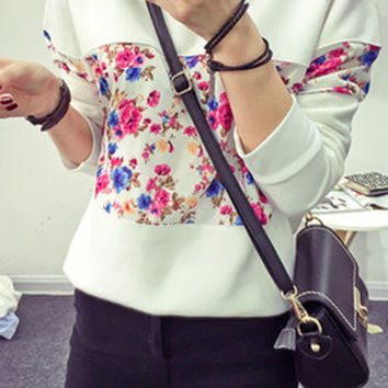 Floral Color Block Long Sleeve Pullover Sweatshirt
