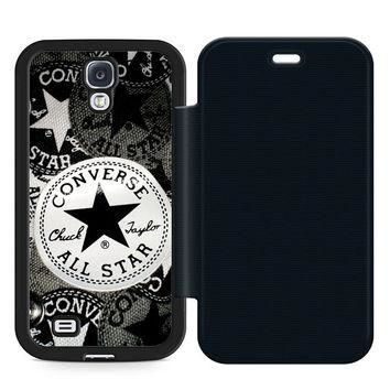 Converse All Star Leather Wallet Flip Case Samsung Galaxy S4
