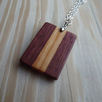 Wooden Pendant - Purpleheart and Yew Two-Tone Tablet Pendant