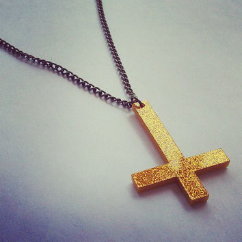 Inverted Cross Necklace Hot Pink or Gold Sparkle