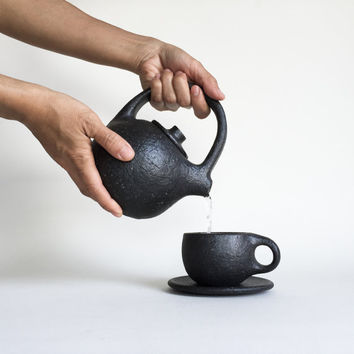 BLACK TEAPOT 14 oz., ceramic, pottery, handmade, tea pot