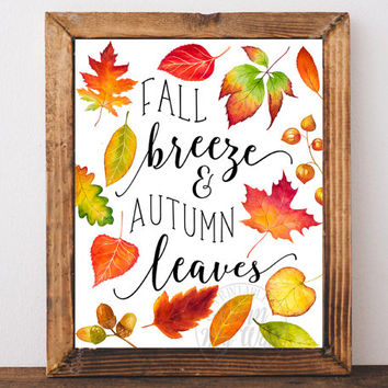 Fall breeze and autumn leaves, Fall decor, fall printable, fall wall art, Happy fall autumn decor, autumn print, instant download fall signs