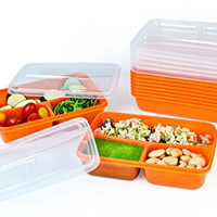 3 Compartment Food Containers with Airtight Lid, weight loss portion control Meal Prep, 21 Day Fix and Portion, Set of 10 Bento box Long lasting- leak proof Durable Plastic Lunch Container