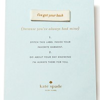 kate spade new york 'i've got your back' sew-in label - White