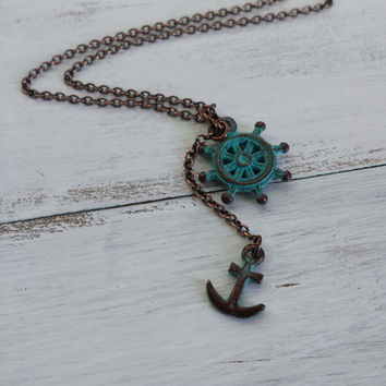 Sailor Wheel Necklace by SBC, Teal Green Patina on Copper Ship Wheel, Anchor Ship Wheel Necklace, Teal Anchor Necklace, Lost at Sea, Ahoy