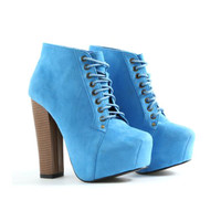 Chic Faux Suede Lace Up Boots Womens Ankle Booties in Blue