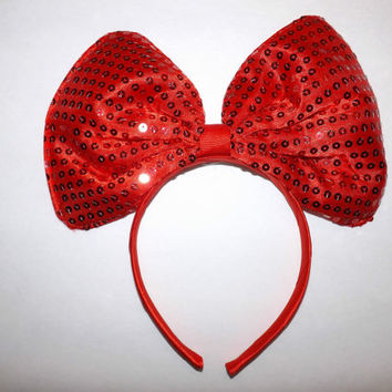 Minnie Mouse Ears Headband Red Sparkle Sequin Jumbo Big hair bow Mickey Mouse Ears, Disneyland, Mickey Mouse Ears, Disneyland