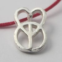 Sterling silver Peace Sign Heart Pendant, Love and Peace Charm on Red or Black cotton String, Adjustable Statement Necklace, Novelty.