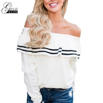 Gold Hands Black and White Striped Cold Shoulder Long-sleeved Wave Hook Flower Hollow Sweater Knitted Turtleneck Casual Sweater
