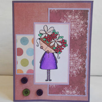 Cute Flower Card, Paper Handmade Greeting Card, Flowers and pearls, For Girls, purple and pink, buttons
