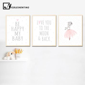 Kawaii Baby Girl Nursery Wall Art Canvas Painting Pink Cartoon Posters and Prints Nordic Kids Decoration Pictures Bedroom Decor
