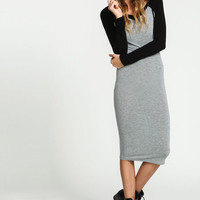 GREY HOODED VARSITY JERSEY KNIT DRESS