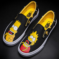 Trendsetter Vans Cartoon Simpson Canvas Old Skool Flat Sneakers Sport Shoes