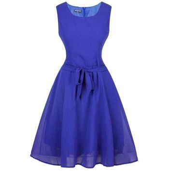 Electric Blue Sleeveless Chiffon Audrey Party Dress