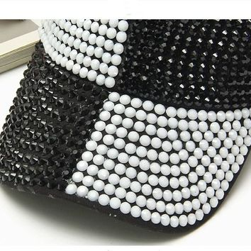 Luxury New Fashion Baseball Cap Hats Handmade Black And White Crystal Beads Bling Hat Woman Girl Beauty Casual Caps Unisex Men