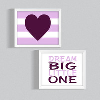 Printable Nursery Art, 'Dream Big, Little One' Dark Pink Heart, Baby Girl Nursery Digital Download, Set of two, Girl's Bedroom Decor