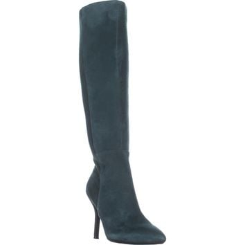Nine West Fallon Knee-High Heeled Boots, Dark Green/Dark Green Suede, 6 US
