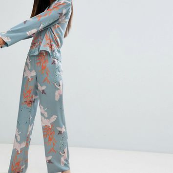 ASOS DESIGN Tall Premium Bird Print Satin Traditional Pyjama Set at asos.com