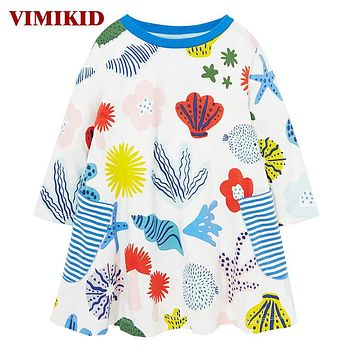 Girl Dress Kids Clothes Princess Dress Baby Tunic ocean Animal Appliques Girls Dresses Children