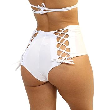 White Lace Back High Waist Rave Bottoms