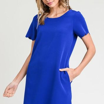 Scalloped Shift Dress - Royal