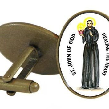 Saint John of God Patron of Healing the Heart Oval Antique Bronze Gold Pair of Cuff Links