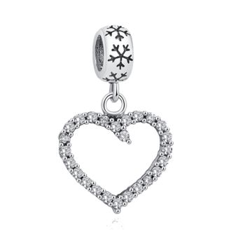 Exquisite Silver Hollow Heart Dangle fit Pandora Bracelet