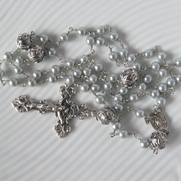Catholic Rosary Silver Swarovski Glass Pearls Handmade Unbreakable