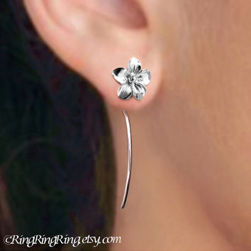 Long stem Plumeria flower earrings - sterling silver post stud earrings, Unique gift floral jewelry. Dangle earrings drop stems