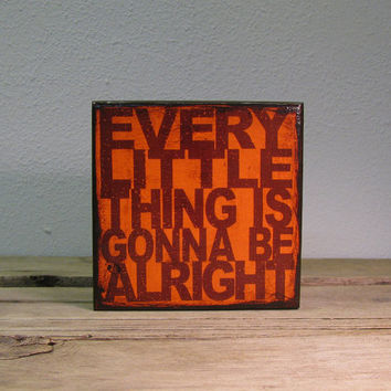 Bob Marley Music Art Block Painting - Every Little Thing Is Gonna Be Alright - MatchBlox 1736