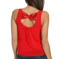 Semi Sheer Sequin Bow Tank | Shop Tops at Wet Seal