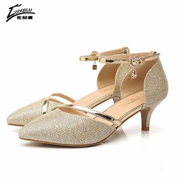 2017 Sexy Shoes Woman High Heel Gold Silver Pumps High Heels Women Shoes Luxury Rhinestones Wedding Party Shoes Birde #727F