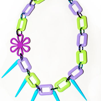 40% OFF  - Purple and Green Plastic Link Necklace with Flower and Spikes