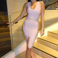 Sleeveless V Neck Cutout Waist Bandage Dress - Nude