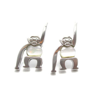 Adorable Monkey Chimpanzee Animal Themed Stud Earrings in Silver | DOTOLY