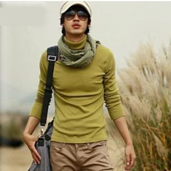 BOYTHOR In the spring a male slim turtleneck long-sleeve thermal underwear solid color long johns basic shirt customize