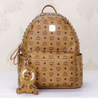 ONETOW Hot MCM Print Women's Leather Backpack Bag Large Capacity Bag