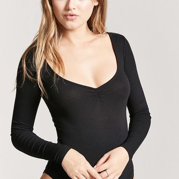 Ribbed V-Neck Bodysuit