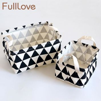New 2PCS/Set Fashion Storage Boxes & Bins Desktop Cotton Geometry Organizer Black & White Cosmetic Case Canvas Makeup Organizer